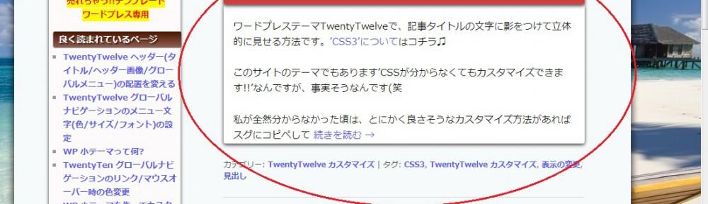 TwentyTwelve 記事コンテンツに影